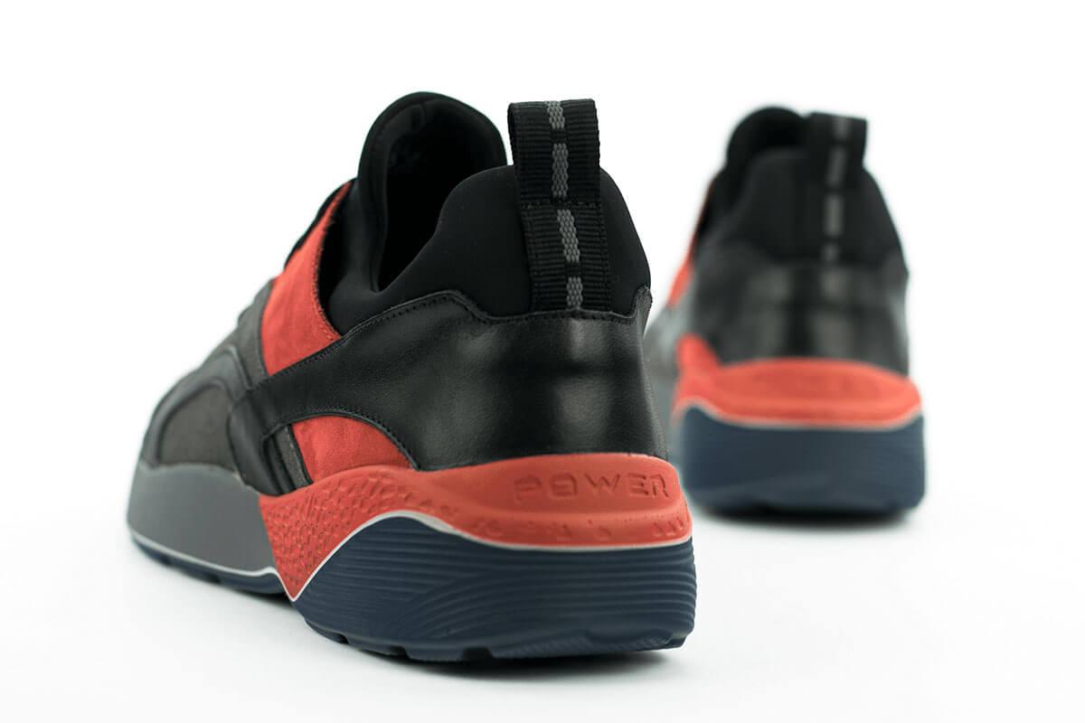 Férfi sportos cipő feketében és pirosban Kavaler valódi